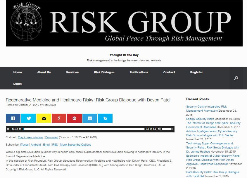 Regenerative Medicine and Healthcare Risks: Risk Group Dialogue with Deven Patel