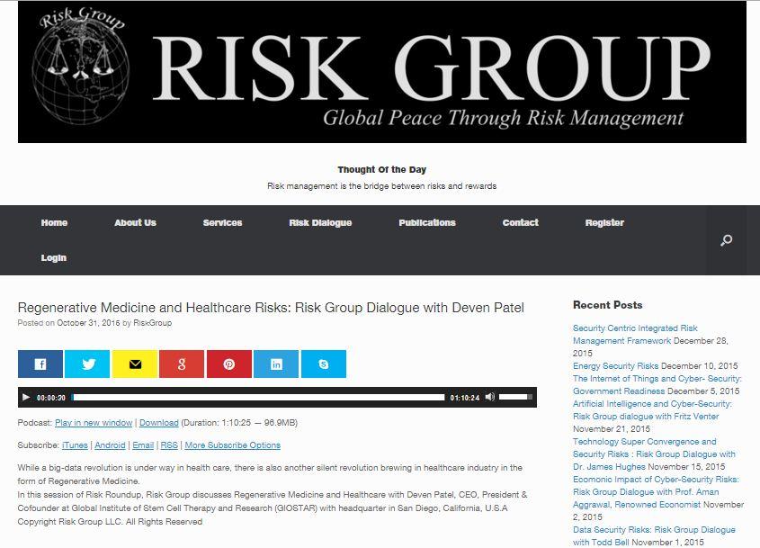 Regenerative Medicine and Healthcare Risks: Risk Group Dialogue with Deven Patel