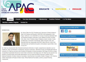 GIOSTAR CEO Mr. Patel is Board of Advisors at Asian Pasific American Coalition