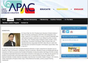 GIOSTAR CEO Mr. Patel is Board of Advisors at Asian Pasific American Coalition