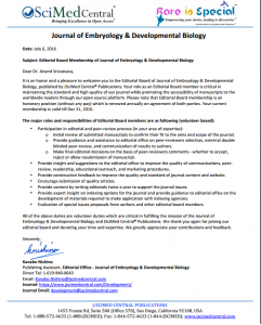Editorial Board Membership of Journal of Embryology & Developmental Biology