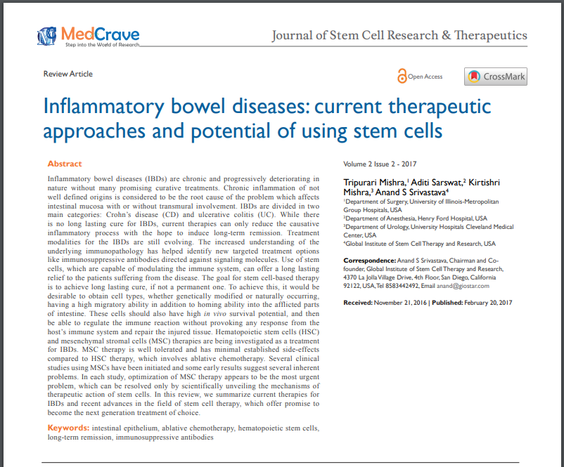 Inflammatory Bowel Diseases: Current Therapeutic Approaches and Potential of Using Stem Cells