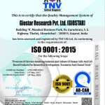 ISO 9001 - 2015 Certification - GIOSTAR