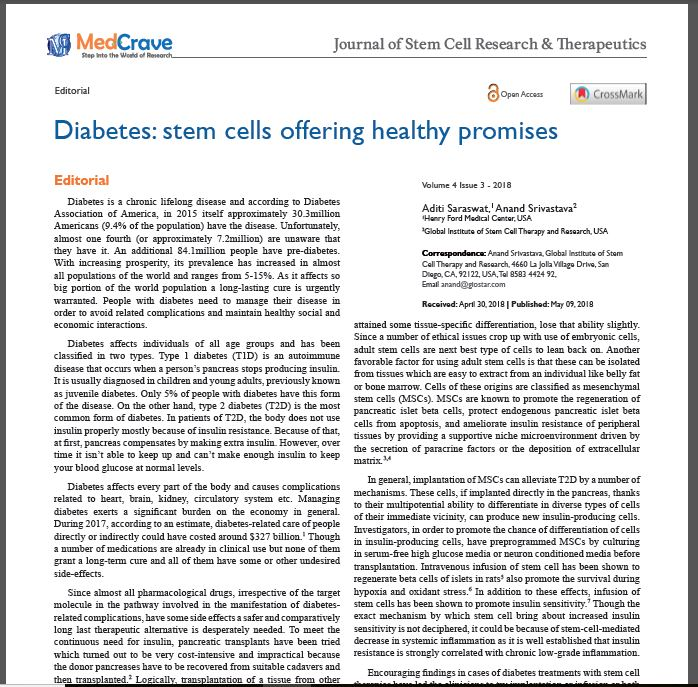 Diabetes Type 1 & 2 in Journal of Stem Cell Research & Therapeutics