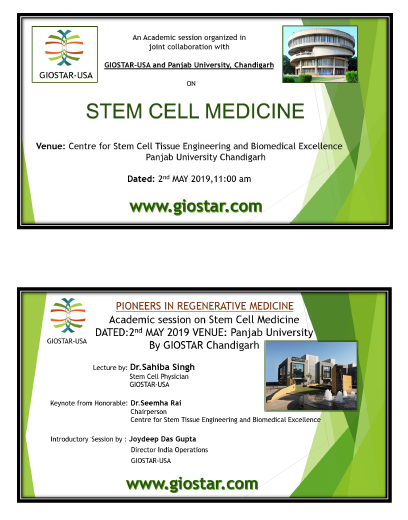 An Academic Session Organized in Joint Collaboration with GIOSTAR USA & Punjab University Chandigarh on Stem Cell Medicine