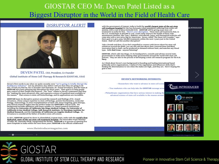 GIOSTAR CEO Mr. Deven Patel Listed as a Biggest Disruptor in the World in the Field of Health Care