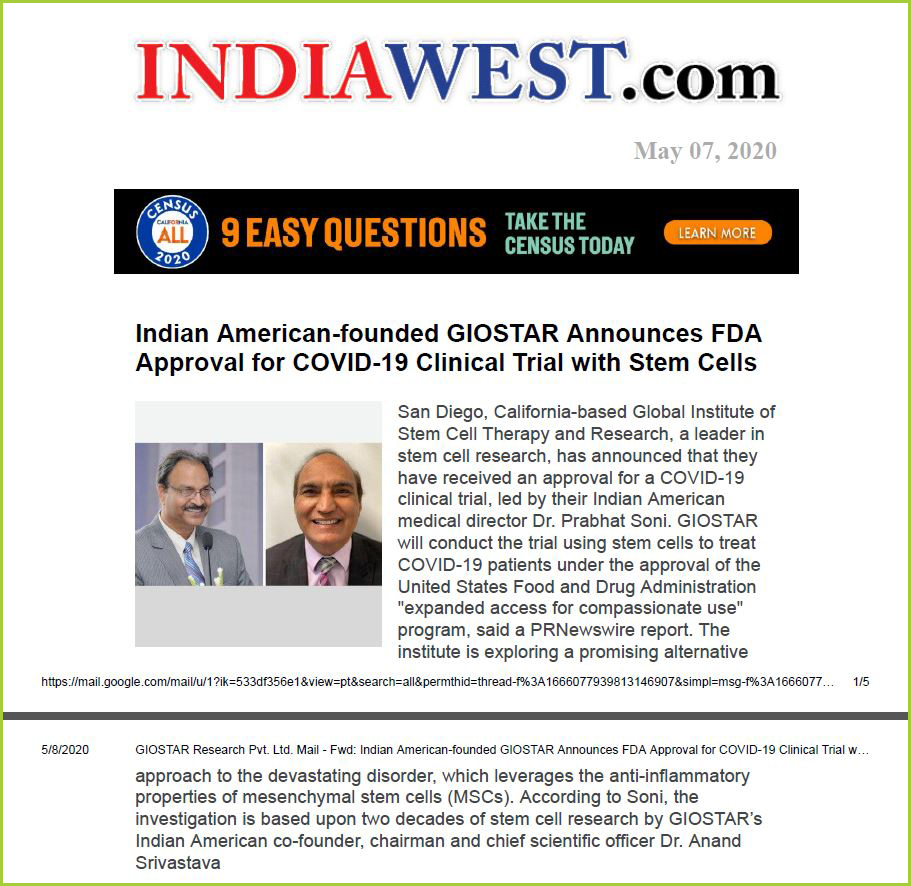 Indian American-founded GIOSTAR Announces FDA Approval for COVID-19 Clinical Trial with Stem Cells copy