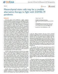 Mesenchymal stem cells may be a credible alternative therapy to fight with COVID-19 pandemic
